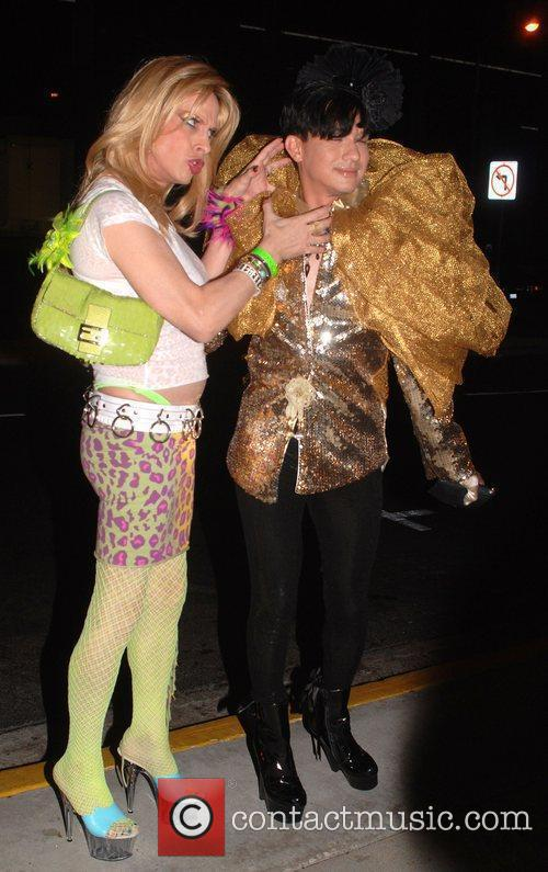 Alexis Arquette and Bobby Trendy outside Trousdale club...