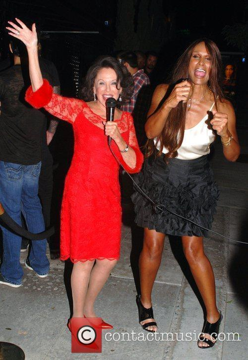 Beverly Johnson and a friend outside Trousdale club...