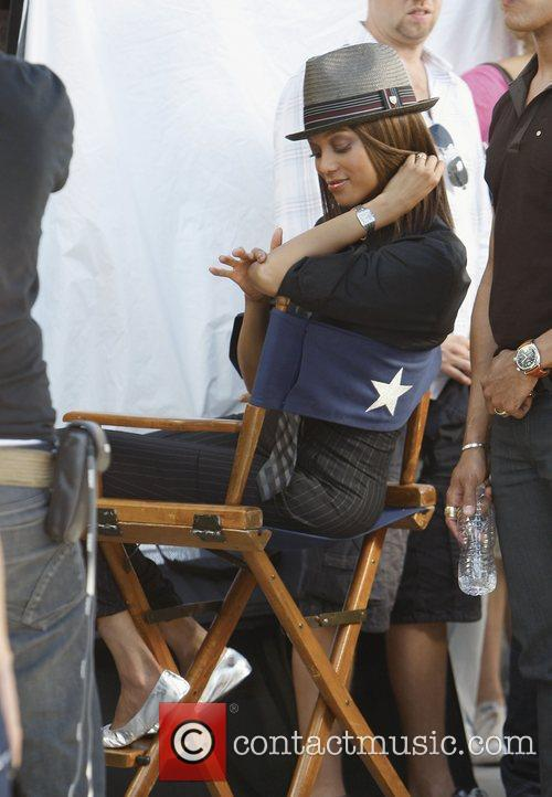 Tyra Banks filming on Rodeo Drive in Beverly...