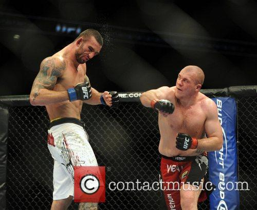 UK fighter Rob Broughton in the red shorts...