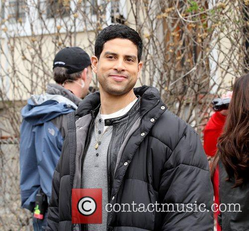 Adam Rodriguez on location filming for 'Ugly Betty'...