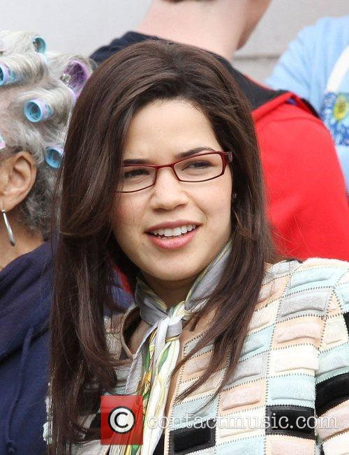 America Ferrera on location filming for 'Ugly Betty'...