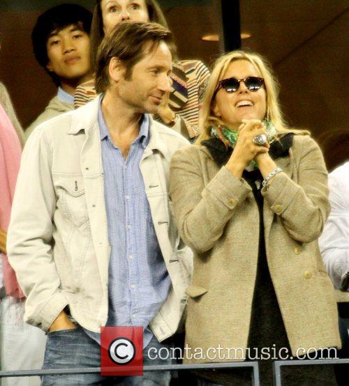 David Duchovny and Tea Leoni Celebrities watch the...