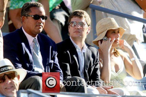Celebrities watching the Men's quarterfinals match on Day...