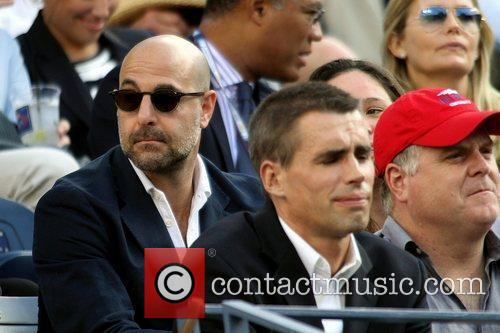 Stanley Tucci Celebrities watching the men's semifinals match...