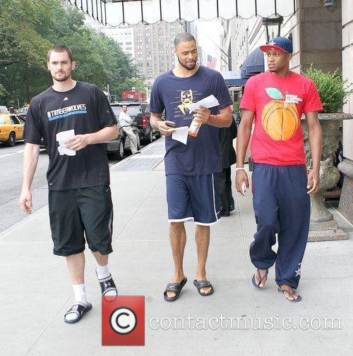 Kevin Love, Tyson Chandler and Rudy Gay of...