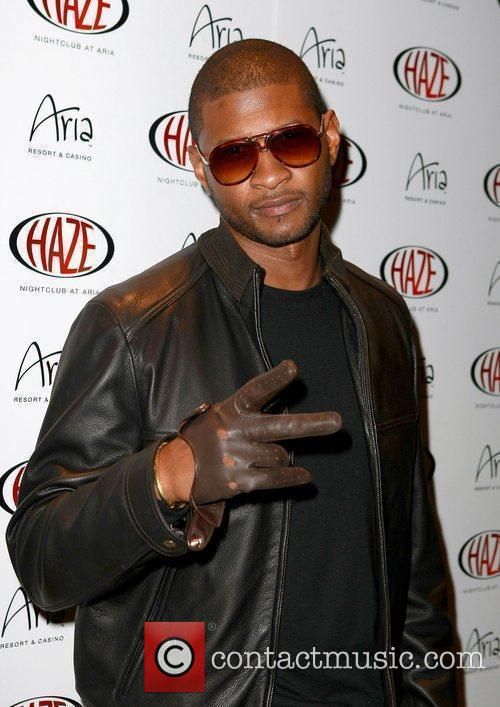 Usher  arriving at Haze Nightclub at the...