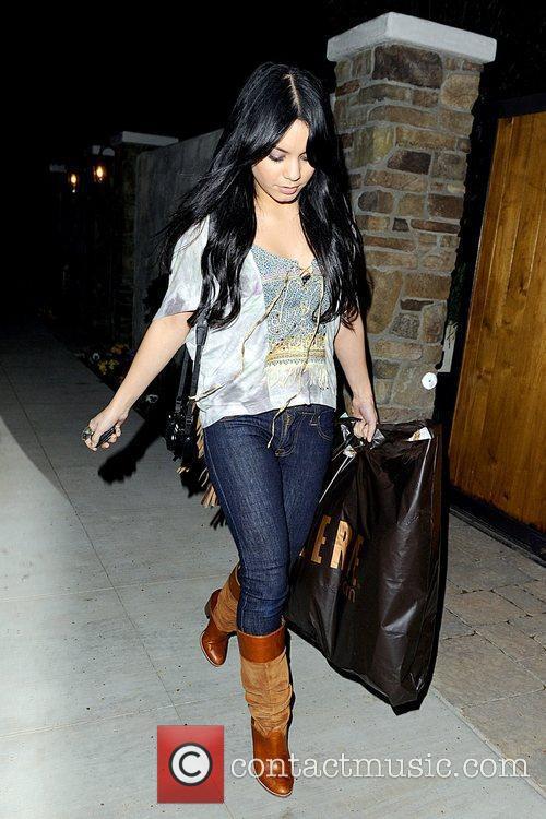 Vanessa Hudgens leaving Ashley Tisdale's residence in Toluca...
