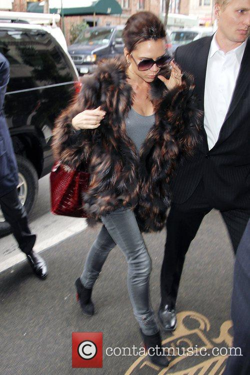 Victoria Beckham, Carrying A Rare Dark Red Crocodile Hermes Handbag and Arriving At Her Manhattan Hotel. 3