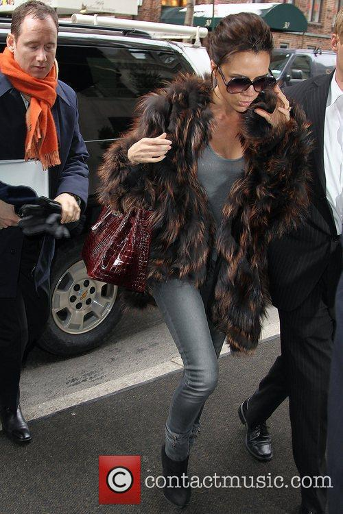Victoria Beckham, Carrying A Rare Dark Red Crocodile Hermes Handbag and Arriving At Her Manhattan Hotel. 2