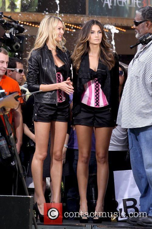 Victoria's Secret models filming a promotion for breast...