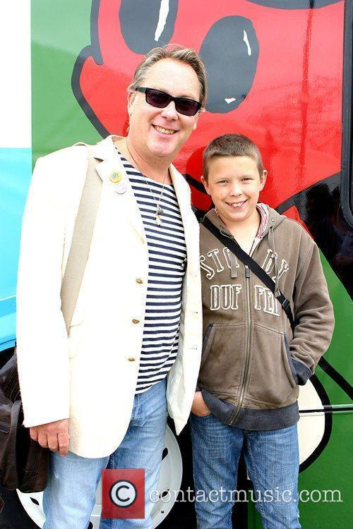 Vic Reeves with son by the Peter Blake...
