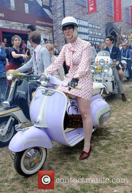 Mods on scooters during the 'Vintage at Goodwood'...