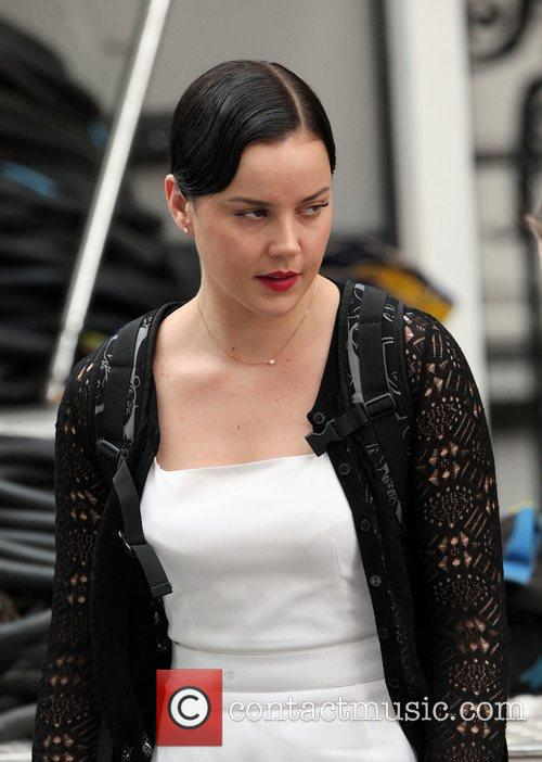 Andrea Riseborough on the set of the film...