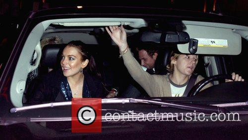 Lindsay Lohan leaving the Grammy Awards afterparty at...