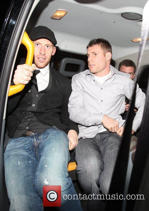 James Collins and James Milner arriving at Whisky...