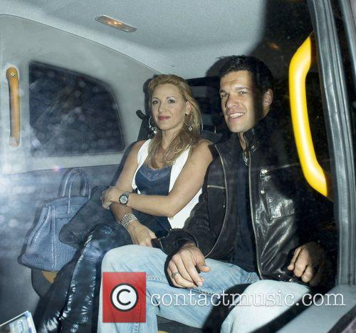 Joe Cole and German International Footballer Michael Ballack Leaves Whisky Mist Bar In A Taxi With His Wife Simone Lambe. They Were Celebrating With Other Members Of The Chelsea Football Team After They Were Crowned League Champions On The Last Game Of The Season.