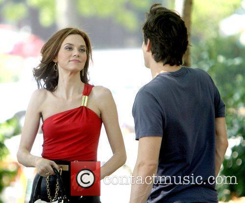 Hilarie Burton on location filming a scene for...