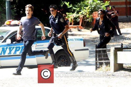 Matthew Bomer, Marsha Thomason on location filming a...