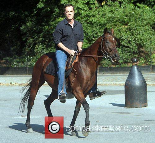 Tim DeKay on location filming a scene for...