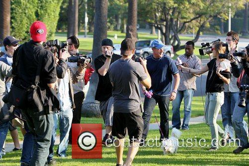 Michael Lohan, being swarmed by photographers Celebrities at...