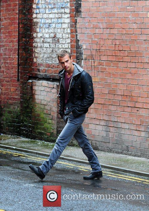 Theo James on the set of new television...