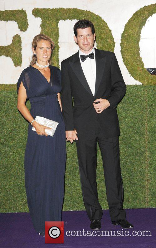 Tim Henman and his wife Lucy Heald attending...