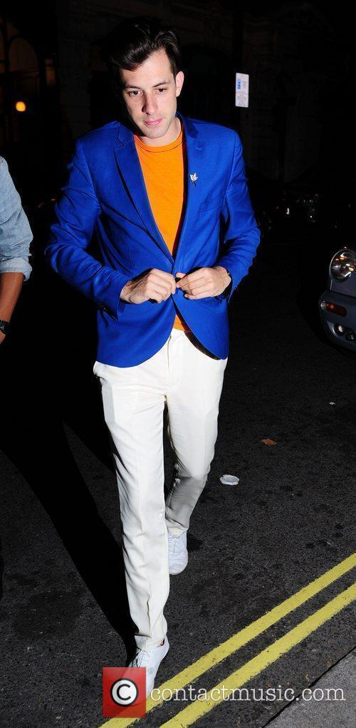 Mark Ronson arriving at Bungalow 8 with a...
