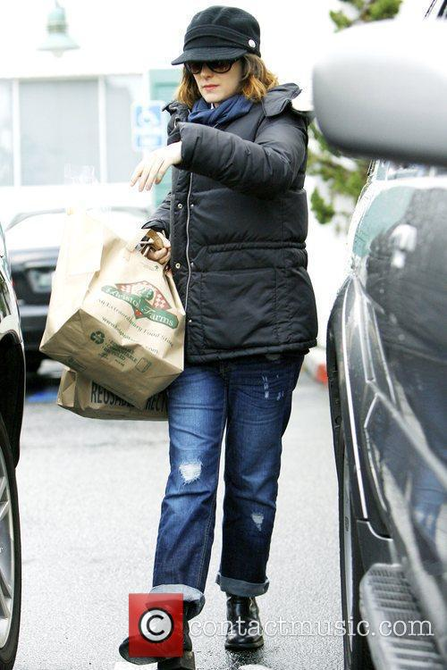 Winona Ryder all bundled up while leaving Bristol...