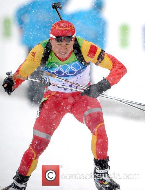 China's Zhang Chengye competes during the men's 10km...