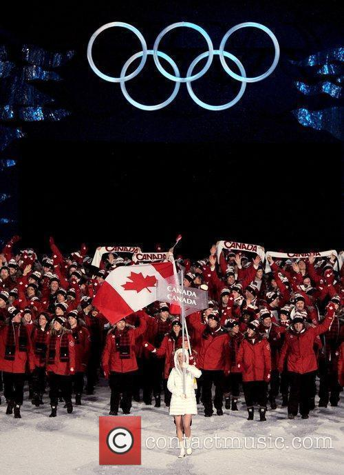 Atmosphere - Members of the Canadian delegation parade...