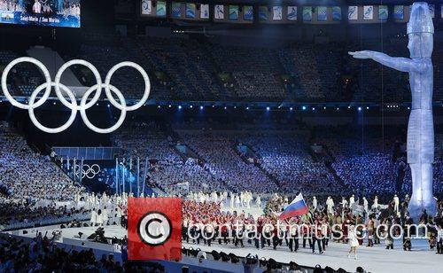 Atmosphere - Members of the Russian delegation parade...
