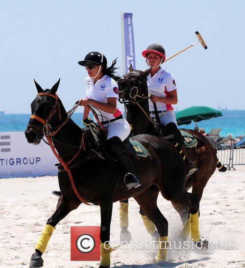 Polo players Ana Paula Disilva and Katherine Campos...