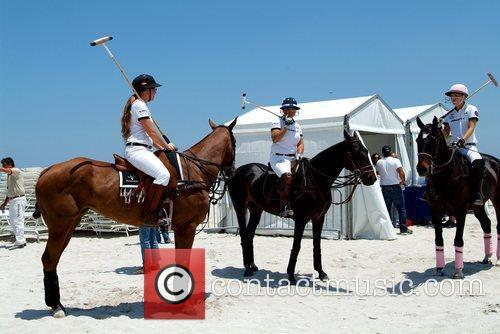 Polo players Lauren Gridley, Sunny Hale and Ashley...