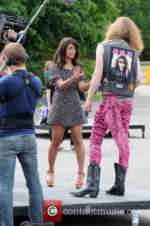Konnie Huq films a piece for ITV2's 'The...