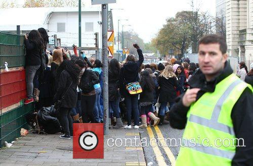 Atmosphere outside 'The X Factor' studios London, England