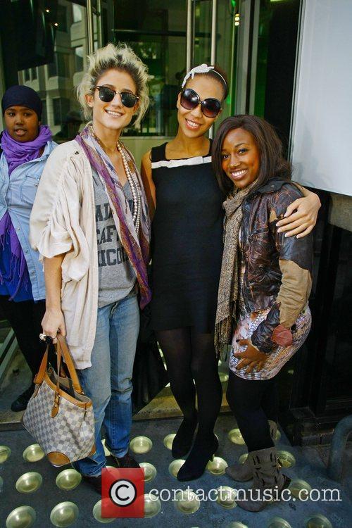 Katie Waissel, Rebecca Ferguson and Treyc Cohen pose...
