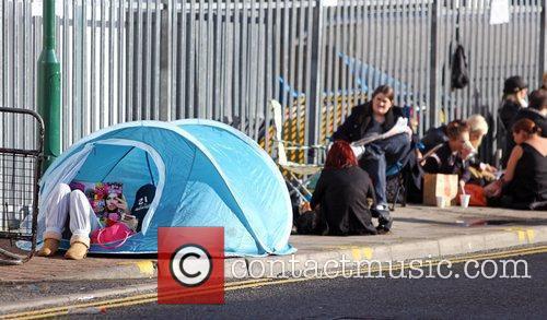 Fans camp outside the studios 'The X Factor'...