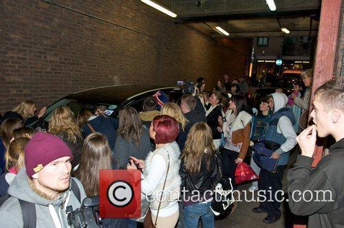 Fans surround Katie Waissel's car  X Factor...