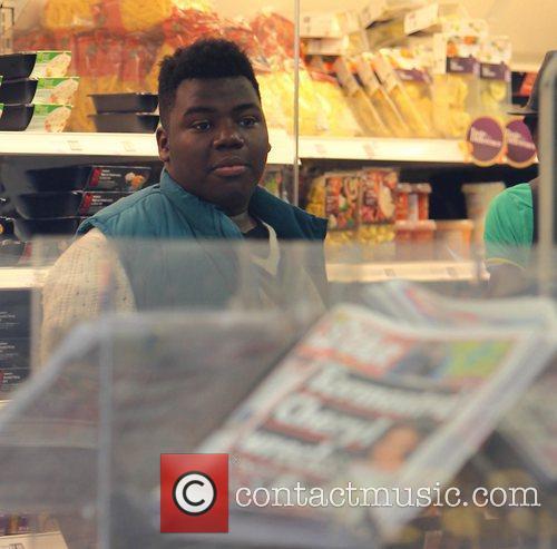 X Factor contestant Paije Richardson at the supermarket...