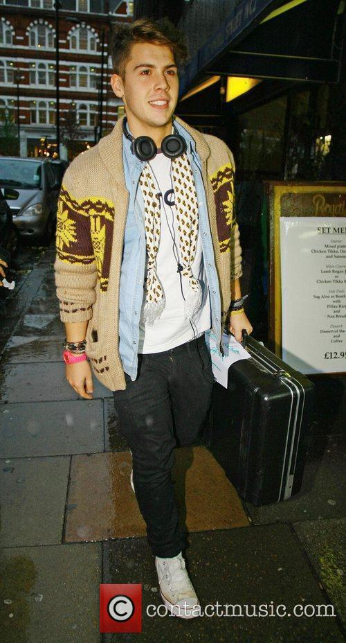 X Factor contestant Aiden Grimshaw shopping in Central...