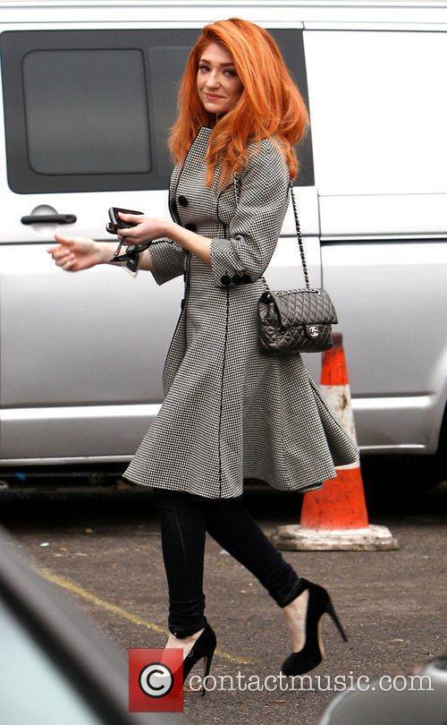 Nicola Roberts arriving at the X Factor studios...