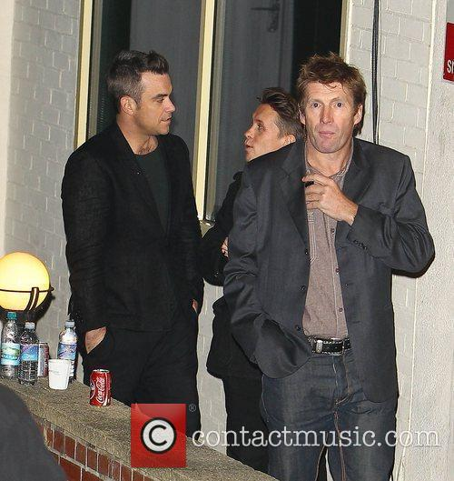 Robbie Williams and Mark Owen of Take That...