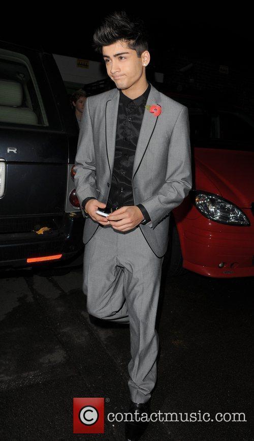 X Factor finalist Zain Malik leaving a recording...