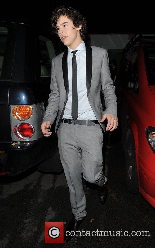 X Factor finalist Harry Styles leaving a recording...