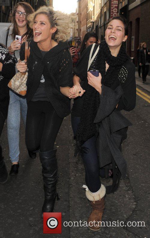 X Factor finalist Katie Waissel is mobbed by...
