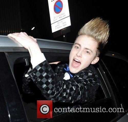 Edward Grimes from Jedward leaving the studio after...