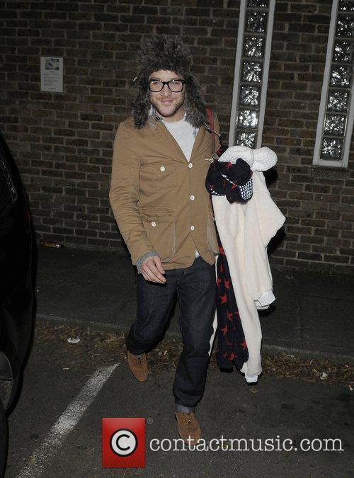X Factor finalist Matt Cardel leaving recording studio...