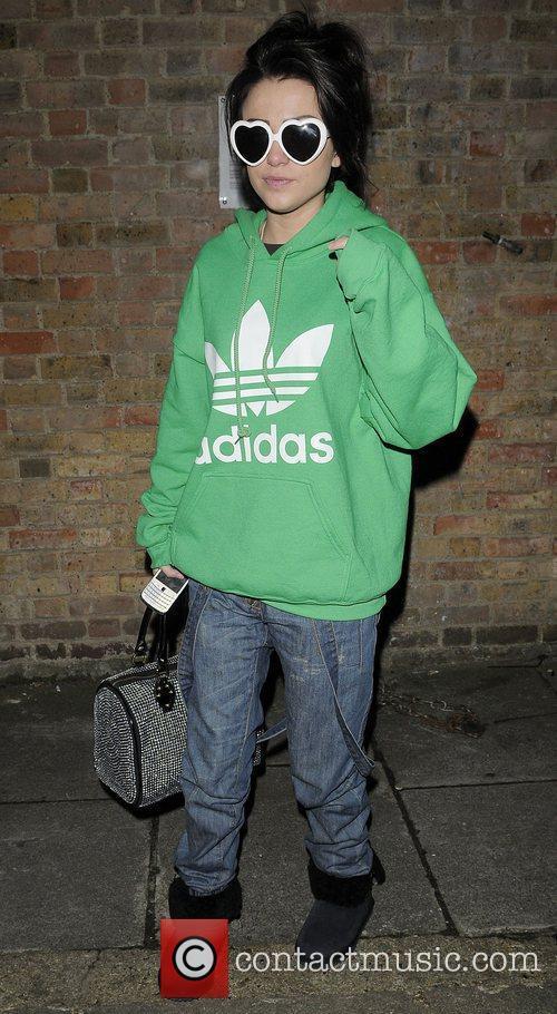 X Factor finalist Cher LLoyd leaving recording studio...