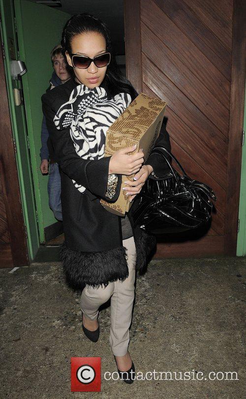 X Factor finalist Rebecca Ferguson leaving recording studio...